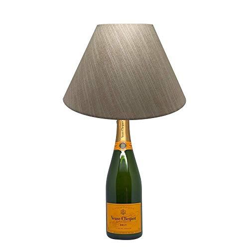 Dekoflasche Champagner Witwe - Veuve Clicqout - originelle Dekolampe Tischlampe mit Stoffschirm I individuelle Tischleuchte E27