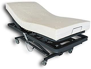 Ventadecolchones - Camas Articuladas Geriátrica de Hospital con Carro Elevador y colchon Visco 10 + 5 Medida 90 x 190 cm con Juego de barandillas