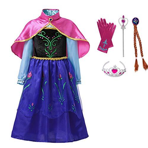 Vestido cómodo y Exquisito Chicas Anna Vestido Disfraz de Niños con Scoak Niños Cosplay Princess Ropa Carnaval Halloween Fiesta de Cumpleaños Disposición (Color : Dress Set3, Kid Size : 4T)