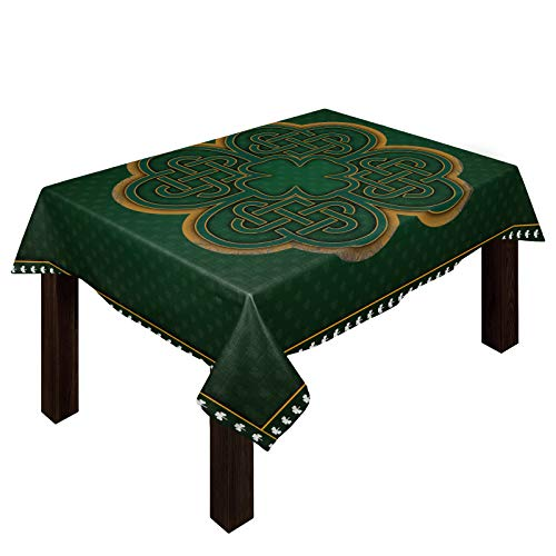 St. Patrick's Day Celtic Knots Tablecloths for Rectangle 54 x 109-inch Table Cover, Cotton Linen Fabric Table Cloth for Dining Room Kitchen, Saint Lucky Clover Irish Texture