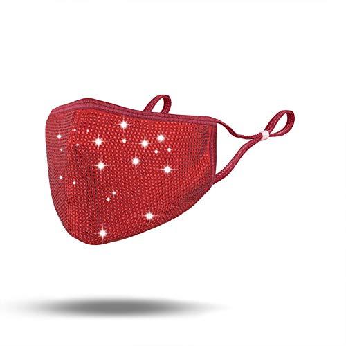SAILA Halloween Kunoichi Masquerade Mask – Fashion Reusable Rhinestone music festival mask For Lady (Red/Red rhinestone)