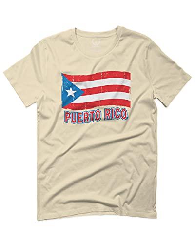 Puerto Rico Flag Boricua Puerto Rican Nuyorican Pride for Men T Shirt (Beige Small)