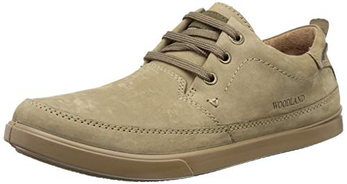 Woodland Men's Khaki Leather Casual Shoes - 10 UK/India (44 EU)