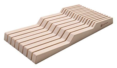 Wüsthof Schubladeneinsatz für 15 Teile (7271), Buche natur, für Küchenmesser mit einer Klingenlänge bis zu 23 cm, 8 kleine Messer, 7 große Messer