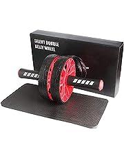 Quesuc Ab buikoefenrol met extra dikke kniebeschermer mat - body fitness krachttraining machine AB wiel gym tool (rood)