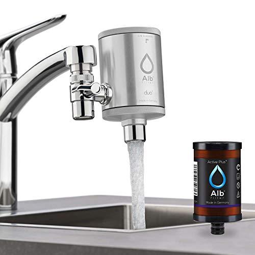 Alb Filter® Duo Active Plus+ Trinkwasserfilter | Armatur Anschluss | Filtert Bakterien, Schadstoffe, Chlor, Pestizide, Mikroplastik. | Set mit Gehäuse und Kartusche | Silber
