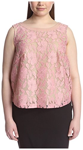 A.B.S. by Allen Schwartz Plus Women's Lace Top with Chiffon Back, Rose, 1X