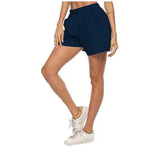 Andouy Damen Sommer Kurze Hosen Tunnelzug Elastische Stoffhose Solide Strand Shorts mit Taschen(S.Marine-1)