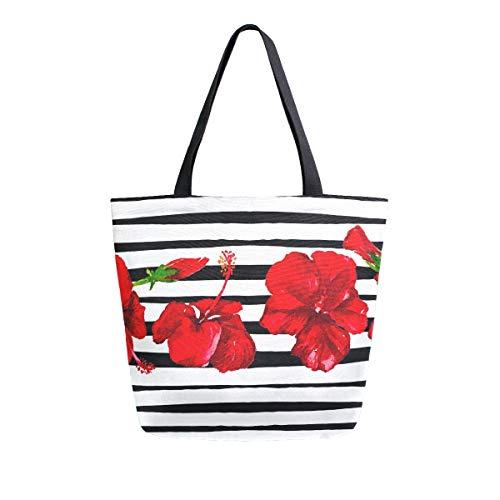 XXNO Mohnblumen-Einkaufstasche aus Segeltuch, große Kapazität, Schultertasche für Arbeit, Strand, Reisen, Lebensmittel