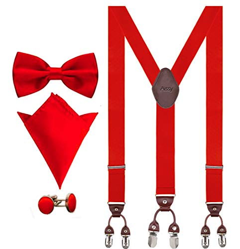 Aissy Hosenträger für Herren 3.5cm Y-Form Elastisch und Längenverstellbar Hosenträger Breit mit 6 starken Clips und Fliege & Einsteckuch,Rot