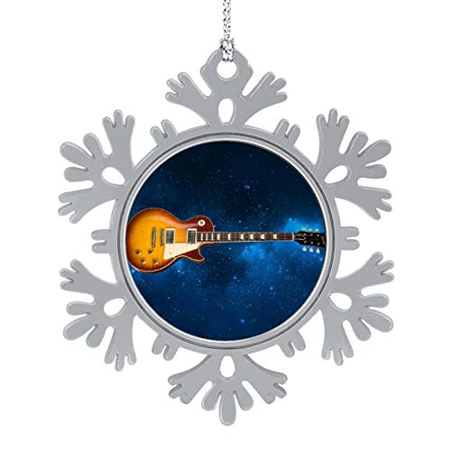 Enylvjoy Inspired Gibson Guitar - Guitar Lovers, Music Lovers Birthday Gift Christmas Hanging Snowflake Alloy Decorations with Lanyard,Christmas Souvenirs, Personalized Holiday Decorations Present