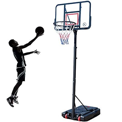 Portátil Canasta Baloncesto, 1,9-3m Juego de Baloncesto con Soporte 2 Ruedas Soporte de Baloncesto Altura Ajustable para Interiores al Aire Libre,Z