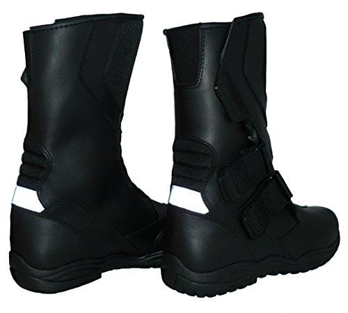 Protectwear TB-ALH-44 Motorradstiefel, Tourenstiefel, Allroundstiefel aus schwarzem Leder mit Klettverschluss, Größe 44, Schwarz - 5