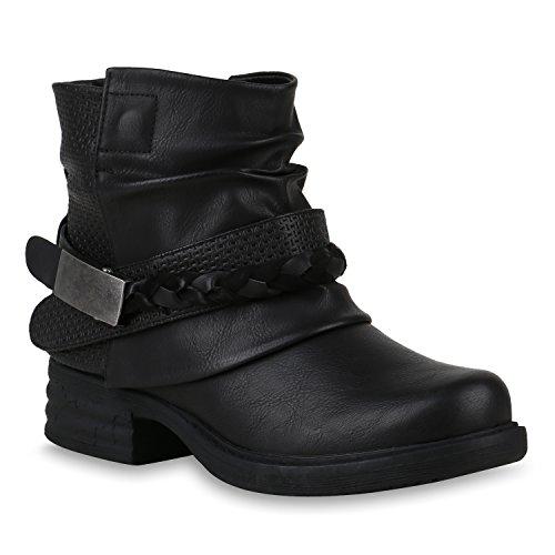 Damen Stiefeletten Biker Boots Schnallen Metallic Schuhe 147507 Schwarz 36 Flandell