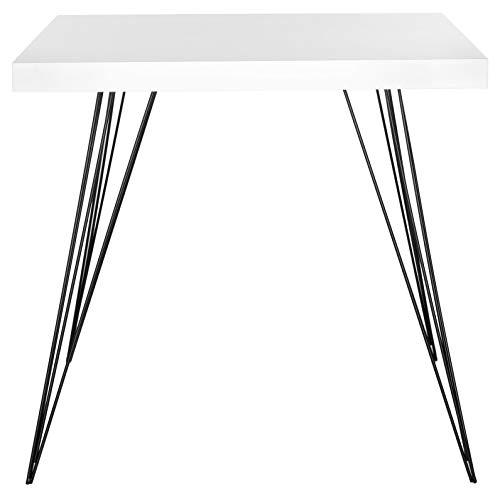 Safavieh EAF4205A Adam Table d'Appoint en Laque Fibre Blanc/Noir 80 x 80 x 74,93 cm