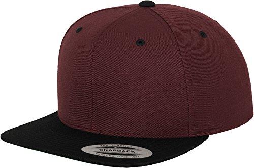 Yupoong Flexfit Unisex Kappe Classic Snapback 2-Tone, zweifarbige blanko Cap mit geradem Schirm, One Size Einheitsgröße für Männer und Frauen, Farbe maroon/blk