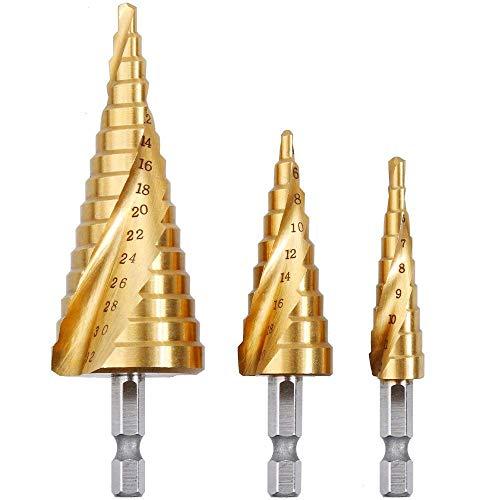 Rovtop 3PCS Spiralnut Stufenbohrer Set aus HSS Edelstahl Bithalter Schälbohrer Kegelbohrer Konusbohrer Metallbohrer Bohrer Satz 4-12mm/4-20mm/4-32mm