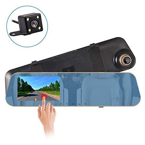 AUTOUTLET Spiegel Dashcam, Full HD 1080P Dual Lens 4,3 \'\' Touchscreen Auto DVR Spiegel Dash Cam Recorder, 170° Weitwinkel kamera, mit 4 LED Kamera 32G Speicherkarte 24-Stunden-Parküberwachungsfunktion