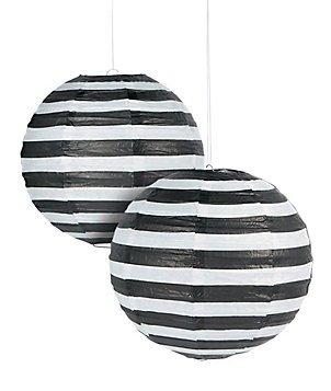 "Black Striped Paper Lantern - 12"" - Set of 2"