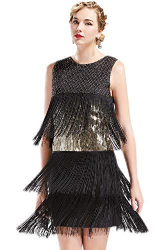 ArtiDeco - Vestido de Charleston estilo 1920 largo hasta la rodilla para mujer, vestido de fiesta de los años 20, vestido traje, Gatsby negro y dorado XXL