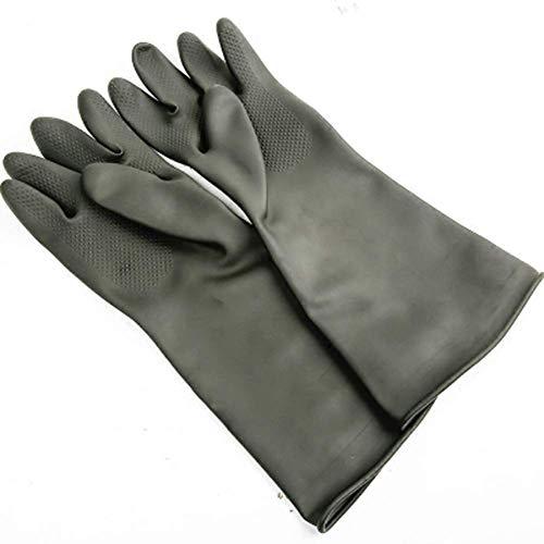 DX Heavy Duty Rubber Handschoenen, Chemische Muriatic Acid Resistant Latex Handschoenen, Waterdichte Vaatwasser Huishoudelijke Schoonmaak Beschermende Veiligheid Werk Industriële Handschoenen/Zwart (Maat: 40cm)