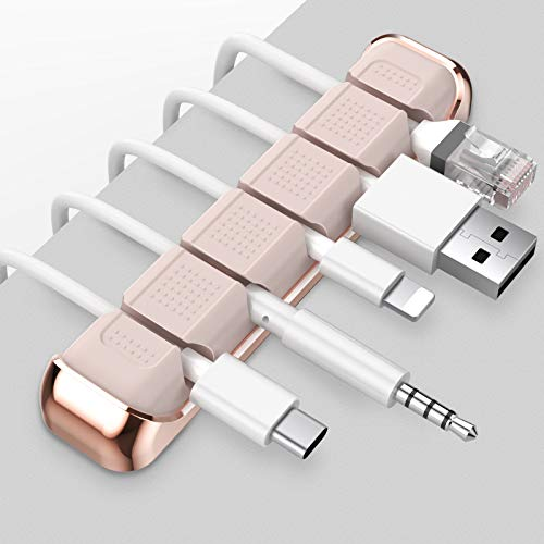 AHASTYLE Kabel-Organizer mit 5 Steckplätzen, Metallrahmen, Schreibtisch-Kabel-Clips, für die Organisation von USB-Kabel/Stromkabel/Draht, Zuhause, Büro und Auto (Pink)