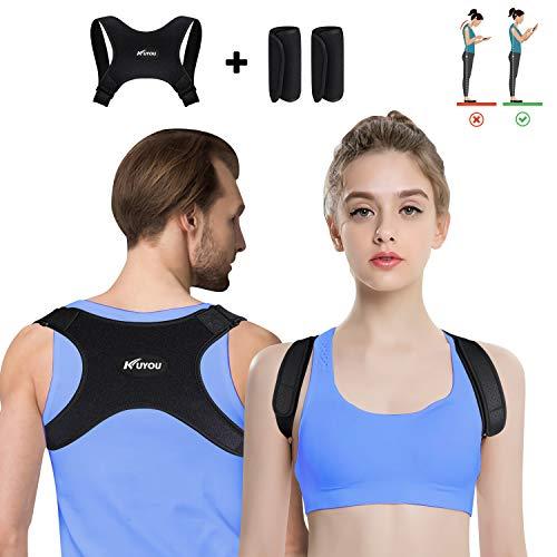 KUYOU Haltungskorrektur für Männer und Frauen, verstellbare obere Rückenstütze zur Unterstützung des Schlüsselbeins und zur Schmerzlinderung von Nacken, Rücken und Schulter (mit 2 Schulterpolster)