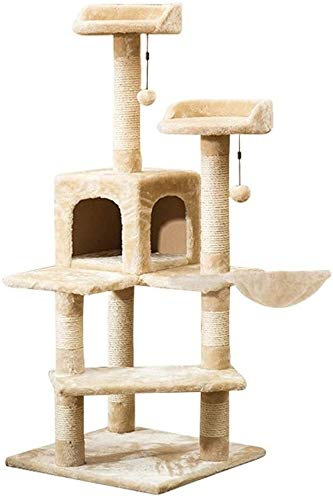 HLZY Cat Tower Popular Cat Toy Cat Trees and Towers Cat Castle Toys, Sisal Cat Play Tower, Cat Scratching Board Furniture Activity Center with 2 Hair Balls Pet Furniture (Color : Beige)