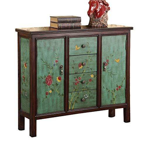 Yuefensu Buffet Schrank Steht Kabinett-Fach und Regal Aufbewahrung in der Küche Schranktüren for Wohnzimmer Büro Schlafzimmer für Esszimmer Flur Bad Ecke (Color : Green, Size : 108x30x96cm)