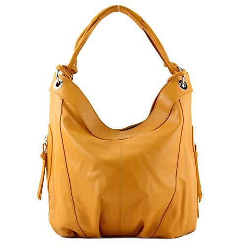 modamoda de - mujeres italianas bolso de cuero/piel de napa Z18, Color:amarillo mostaza