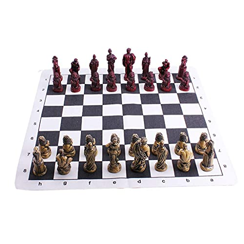 LXTIN Ajedrez Piezas de ajedrez Romanas Antiguas Mesa de ajedrez de Caoba de Gama Alta Tablero de ajedrez de Madera Maciza Juego de enseñanza para Estudiantes Adultos Juego Especial (款式