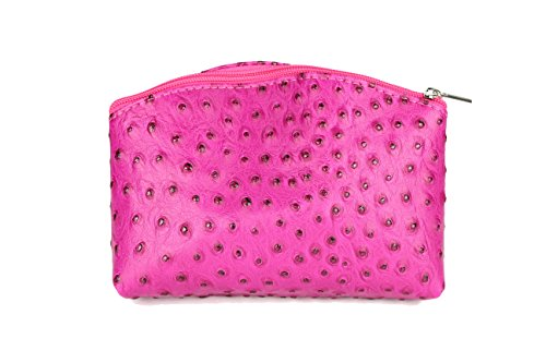 Belli 'Bellini kleine Leder Kosmetiktasche Make Up Tasche - Farbauswahl - 18x13x5 cm (B x H x T) (Pink strauss)