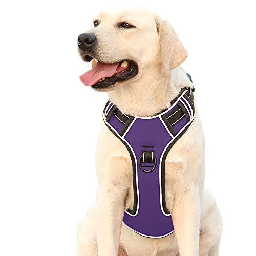 Hundegeschirr für Große Hunde Anti Zug Geschirr No Pull Sicherheitsgeschirr Kleine Mittlere Hunde Brustgeschirr Reflektierendem Dog Harness Weich Gepolstert Atmungsaktiv Lila XL