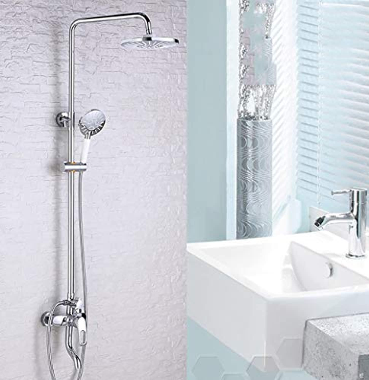 ERCZYO Duschsysteme Einfache und stilvolle Chrom-Messing-Armaturen, Badeinbau-Brausewasserfall-Duschsets, moderne Familienhotel-Wasserhahn, oben und unten einstellen Handbrause mit einem Handgriff, he