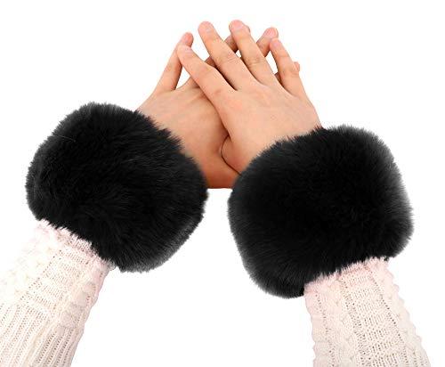 Simplicity Ladies Winter Faux Fur Wrist Warmer Cuff Wristband, Black