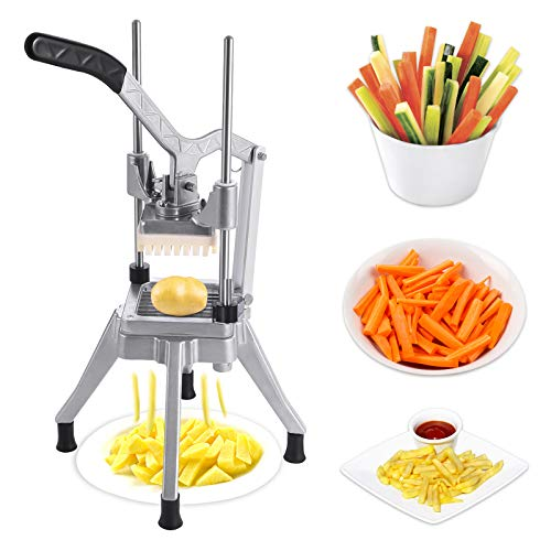 Frifer Commercial Vegetable Fruit Chopper French Fry Cutter 14″ Blade Heavy Duty Professional Food Dicer Stainless Steel Potato Chopper for Onion Peppers Potatoes MushroomsSilver