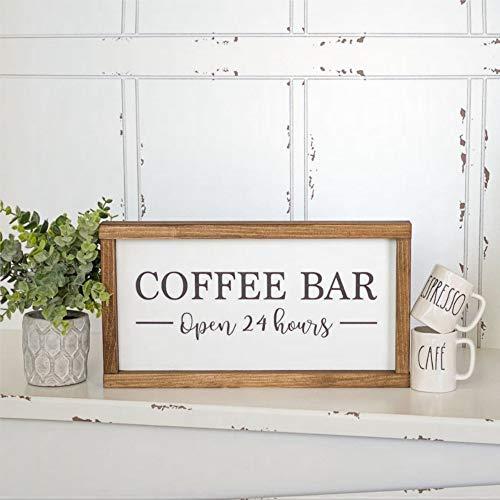 DONL9BAUER Coffee Bar Schild Holzschild Gerahmt Offen 24 Stunden 20 x 30 cm Wandbild Bauernhaus Rustikales Holz Wanddekor Perfekt für Bar Büro & Home Decor