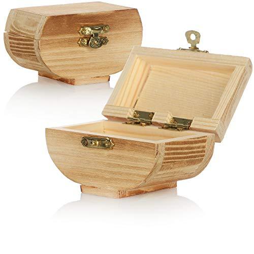 com-four® 2X Holz Schatulle zur Aufbewahrung von Schmuck - Holzbox Schmuckkästchen - kleine Holzkiste mit Deckel - dekorative Schmuckschachtel - Holzschachtel (2 Stück - Truhe)