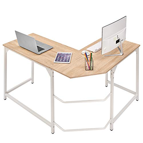 Corner Desk L Shaped Desk Sturdy Home Office PC Laptop Workstation Gaming Computer Desk Study Writing Table Easy to Assemble Simple Design Beige&White