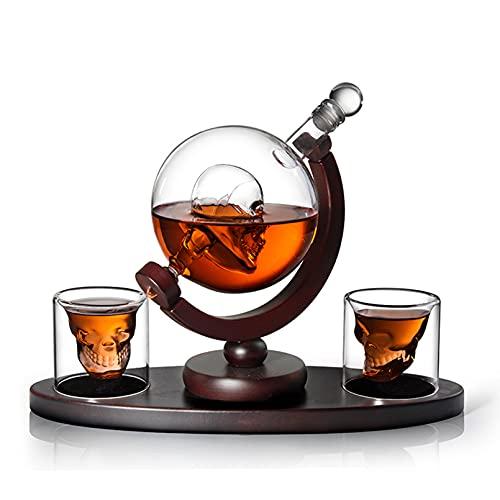 Juego de Decantador de Whisky de Calavera con Base de Madera, 2 Vasos de Chupito de Calavera, Bandejas de Cubitos de Hielo, Dispensador de Licor para Licor, Vodka de Borbón Escocés