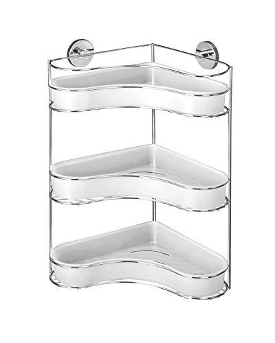 WENKO Vacuum-Loc Eckregal 3 Etagen Milazzo, Wandablage ohne bohren, Duschablage, Regal für Badezimmer und Küche, verchromtes Metall mit Kunststoffeinsatz in Weiß, 35 x 47,5 x 24 cm