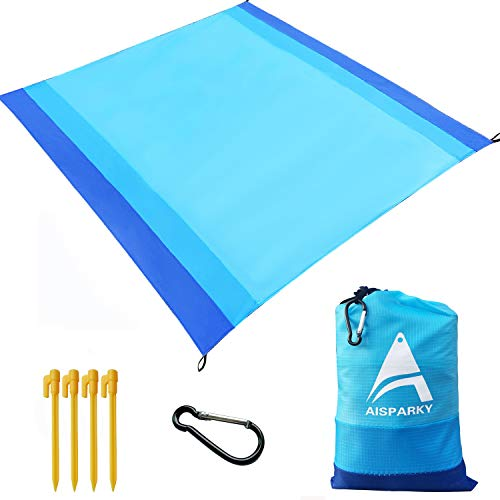"""AISPARKY Beach Blanket, Beach Mat Outdoor Picnic Blanket Large Sand Free Compact for 4-7 Persons Water Proof and Quick Drying Beach Mat Picnic Sheet for Outdoor Travel (78"""" X 81"""") (Blue)"""