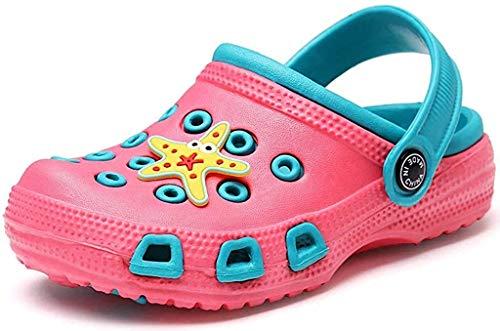 Gaatpot Zuecos y Mules Niños Respirable Zapatos de Jardín Niña Sandalias de Playa Verano Antideslizante Zapatos de Playa Rosa(Funny) 27 EU / 28CN