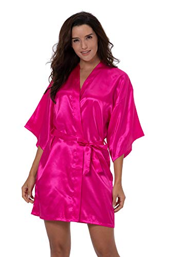 ShinyLuck Women's Satin Short Kimono Robe Solid Color Dressing Gown Bridal Party Robe (Medium, Hot Pink)