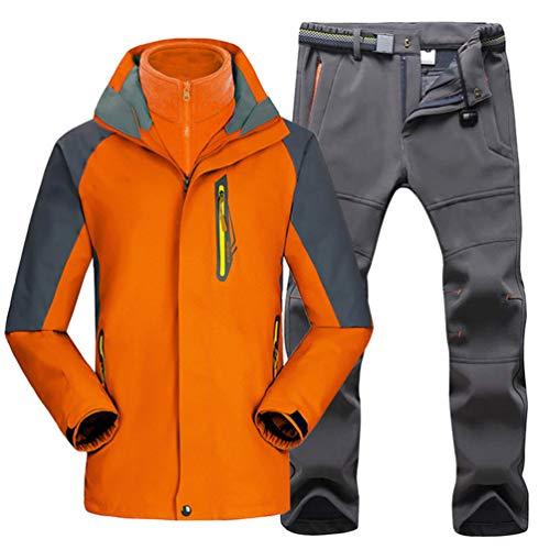 WanYangg 3-in-1 Herren Skifahren Wasser- und Winddichte Outdoor Jacke mit Kapuze Wetterschutzjacke Kältewiderstand Detachable Windbreaker Bergsteigeranzug Atmungsaktiv