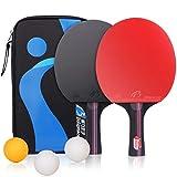 Raquettes de Tennis de Table Ping-Pong, Professionnel Table Tennis Raquet avec étui pour Activités en Famille École et Bureau, 2 battes et 3 balles