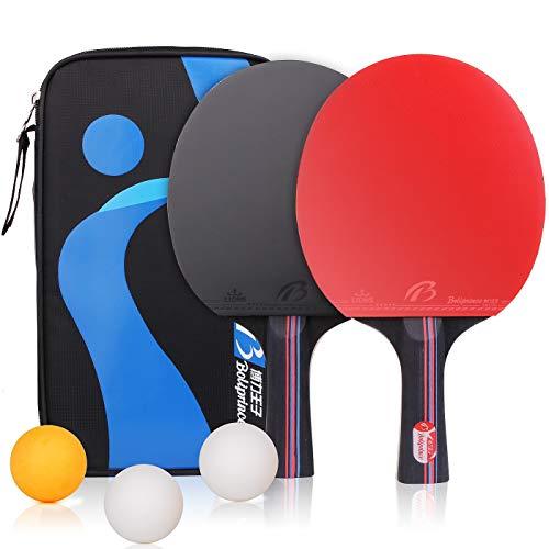 Racchette da Ping-Pong Set Pagaia da Ping Pong Racchette Tennis da Tavolo con Borsa Portatileper per Attività di Family Office , 2 Racchette e 3 Palline