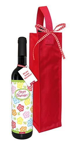 STEINBECK Wein Statt Blumen Geschenk Geburtstag Danke trockener Rotwein aus Spanien 100% Tempranillo Valdepenas mit Flaschentasche Essen Frau beste Freundin
