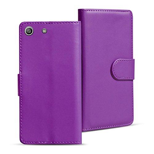 Verco Xperia M5 Hülle, Handyhülle für Sony Xperia M5 Tasche PU Leder Flip Hülle Brieftasche - Lila