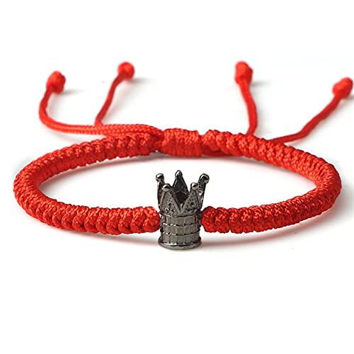 Pulseras Cuerda Hecha a Mano tibetana Budista Pulseras brazaletes Negro y Rojos del Hilo Nudos Pulsera Ajustable for Hombres Reloj de joyería Pulsera Hombre (Metal Color : Crown Red)